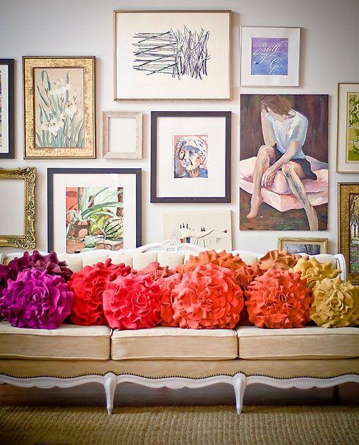 art + pillows + sofa = love: Wall Art, Living Rooms, Color, Accent Pillows, Rainbows, Interiors Design, Galleries Wall, Design Home, Art Wall