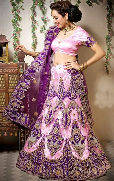 Picture of Luscious Deep Purple and Rose Pink Color Lehenga Choli