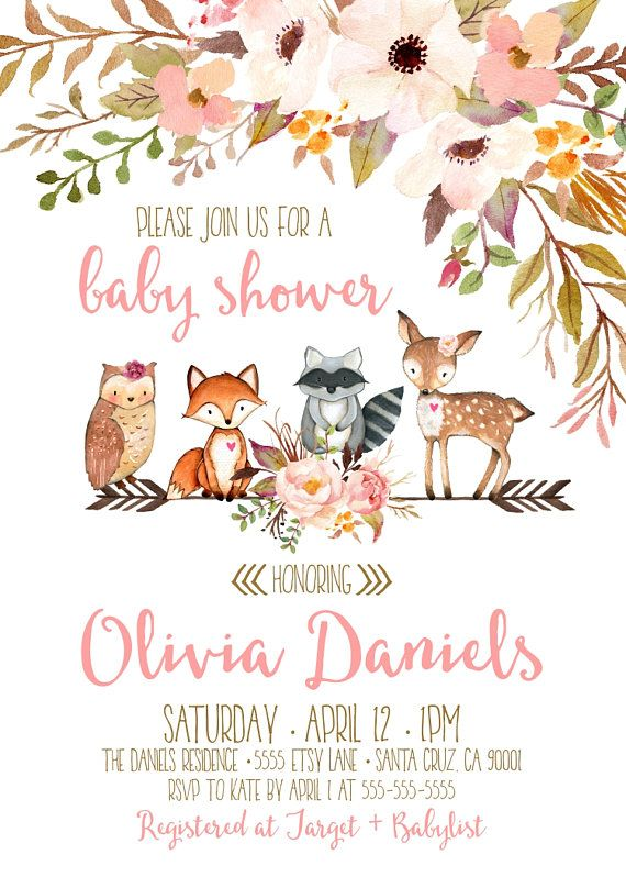 best 25+ woodland baby ideas on pinterest | baby girl themes, girl, Baby shower invitations