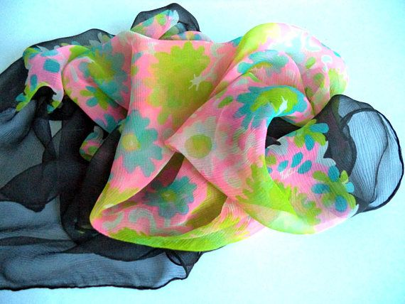 Liberty Rare Sheer Silk Floral Scarf Pink Turquoise Green