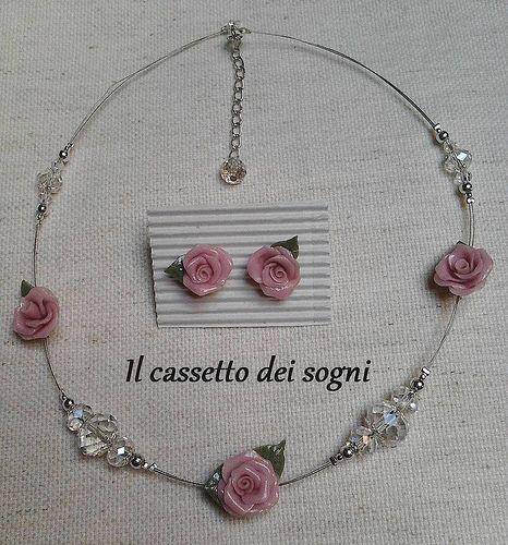 Parure rosa / pink roses set