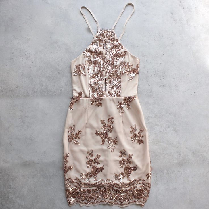 RESTOCKING END OF MARCH! Please sign up for a restock email notification. :) - In the same cut as our up all night dress, this beautiful dress consist of a rose gold sequin design throughout. - Fabric