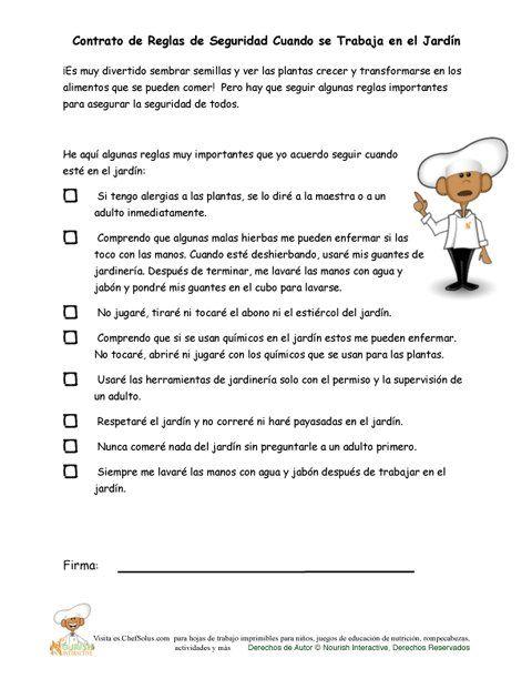 Contrato del Chef Solus De las Reglas de Seguridad Para Los Niños en el Jardín