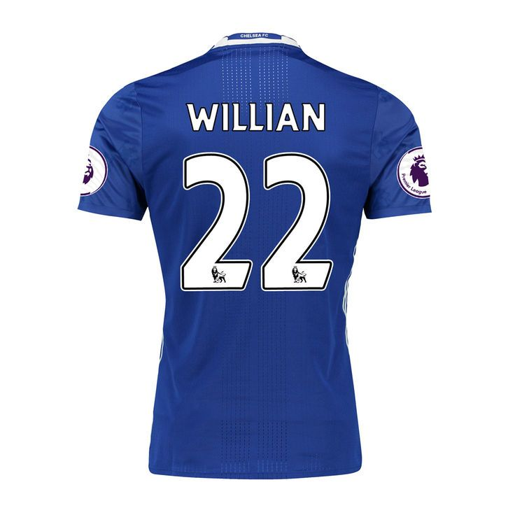 Men's adidas Willian Borges da Silva Blue Chelsea 2016/17 Authentic Home EPL Badge Jersey - $147.99