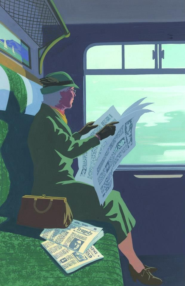 Miss Marple reading on train. FromMiss Marple Novels.Agatha Christie. The Folio Society. Illustrations by Andrew Davidson.