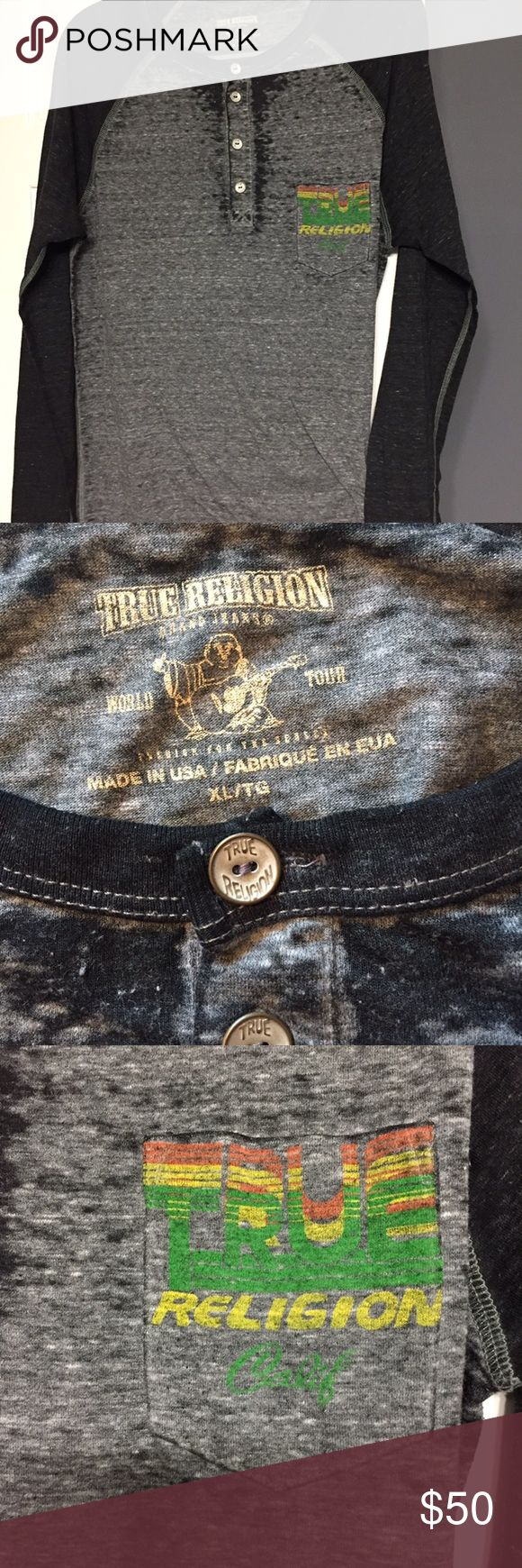 True Religion XL designer shirt Cool design on front & back pre owned long sleeve shirt True Religion Shirts Tees - Long Sleeve