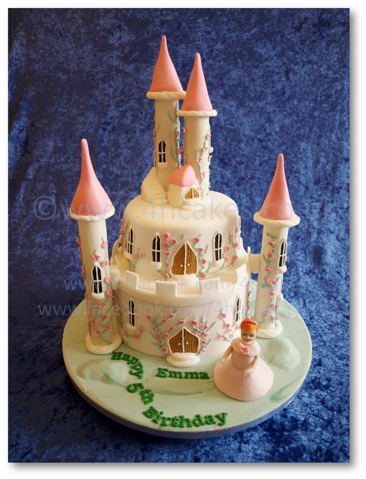 Birthday Cakes - Our Fairy Princess Castle Cake. This two tiered cake is 100% edible. Towers were filled with surprise treats for the birthday girl. For Heaven's Cakes - 4hcakes - North Lanarkshire - Scotland www.4hcakes.co.uk or www.facebook.com/4hcakes ... please come and 'Like' our Facebook page :)