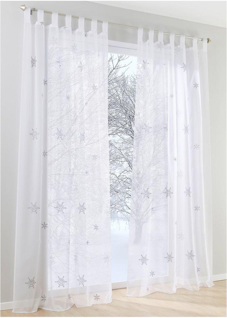 Bekijk nu:Betoverende raamdecoratie voor de winter en de kerstperiode. Dit gordijn van transparante voile is versierd met geborduurde vlokken. Voor een gezellige sfeer in huis!