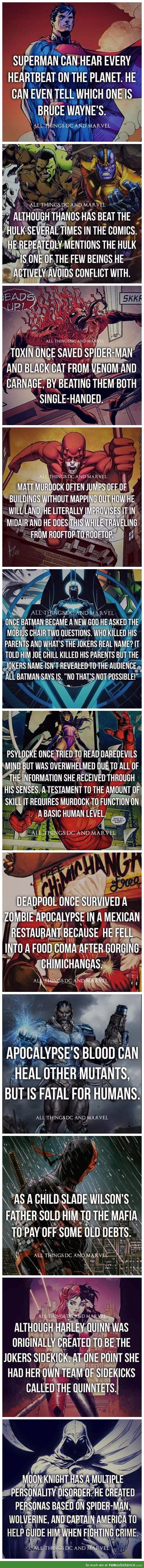 All things Marvel and DC (Facts)