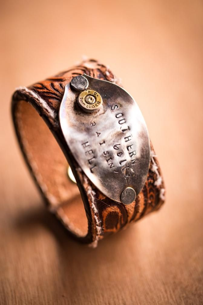 Southern Silver Spoon Leather Cuffs on BourbonandBoots.com