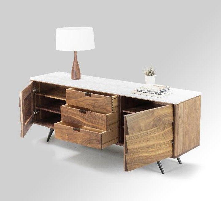 Walnut multidrawer sideboard with marble top. Aparador