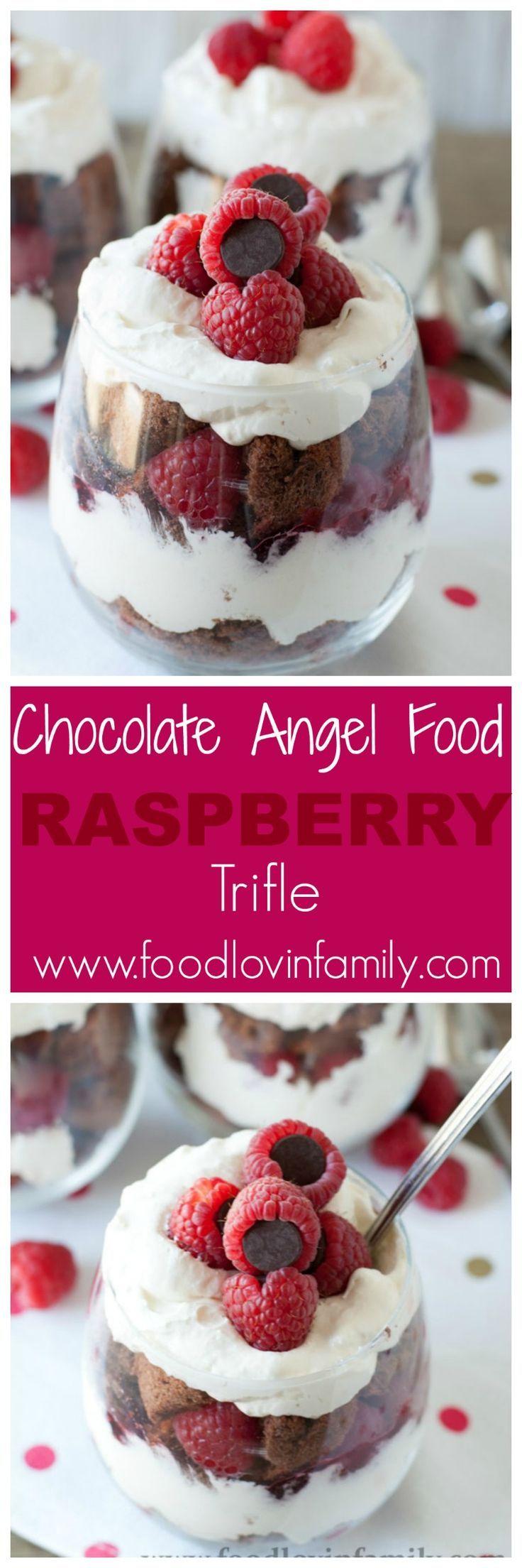 Chocolate angel food cake layered with cream and raspberries, celebrate this Valentine's Day with this easy chocolate angel food cake + raspberry trifle.