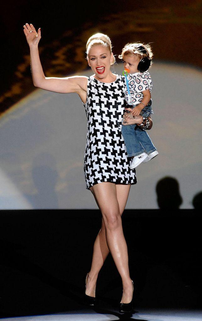 Mother of three Gwen Stefani walks the runway with Zuma at NYFW.
