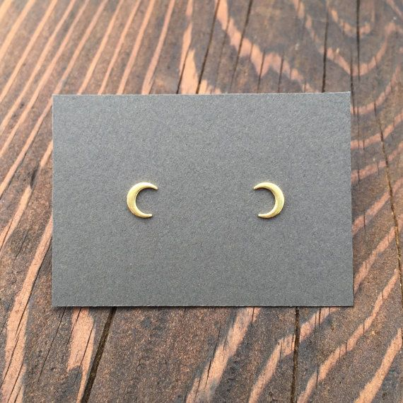 Tiny Crescent Moon Stud Earrings in Gold. Sterling Silver Posts. Moon Phase…
