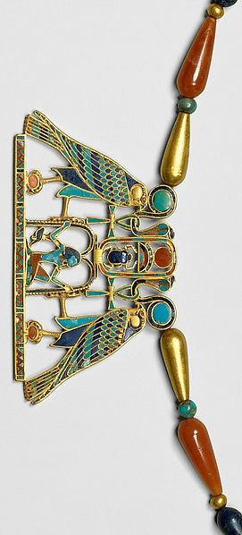 wow - Pectoral and Necklace of Sithathoryunet with the Name of Senwosret II, Middle Kingdom. 12th Dynasty during the reign of Senwosret II, from Egypt, Fayum Entrance Area, el-Lahun (Illahun, Kahun; Ptolemais Hormos), Tomb of Sithathoryunet (BSA Tomb 8), EES 1914. Gold, carnelian, lapis lazuli, turquoise, garnet (pectoral) Gold, carnelian, lapis lazuli, turquoise feldspar.