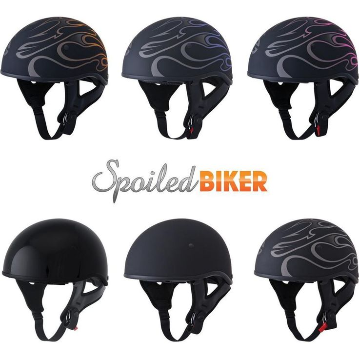 Fly .357 Naked Motorcycle Half Helmet with Sun Visor Flames and Solids DOT #FlyRacing