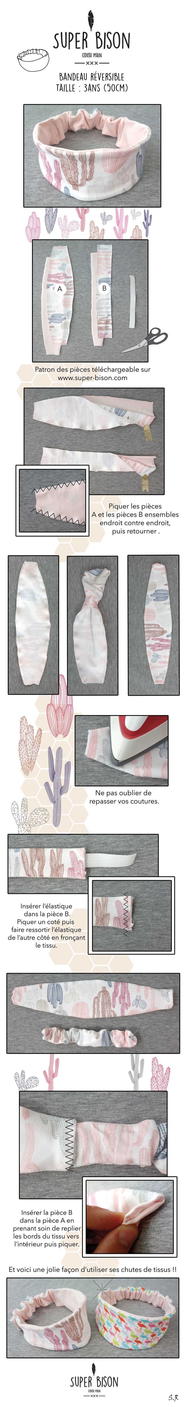 Un tuto très simple à réaliser  en utilisant les chutes de tissus pour les cheveux de nos petites chéries : le bandeau réversible ! Le patron pdf est téléchargeable sur www.super-bison.com