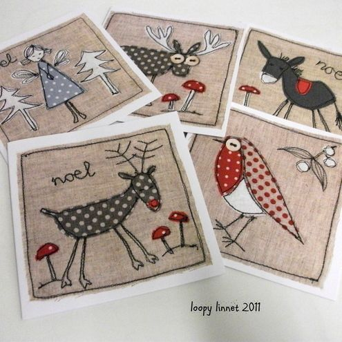 free motion embroidery Christmas cards