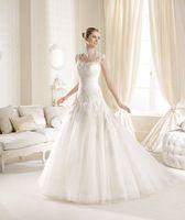 Lindo Sereia Vestidos de Casamento vestido de alça de Ombro Removível Querida Lace Mangas Bordado de Organza e Tule Vestido de Casamento