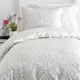 Show your wild side with the glamorous Snow #leopard #duvet! The grey and white leopard print can make any room #chic and elegant. http://www.dormify.com/bedding/duvet-covers/snow-leopard-duvet-set