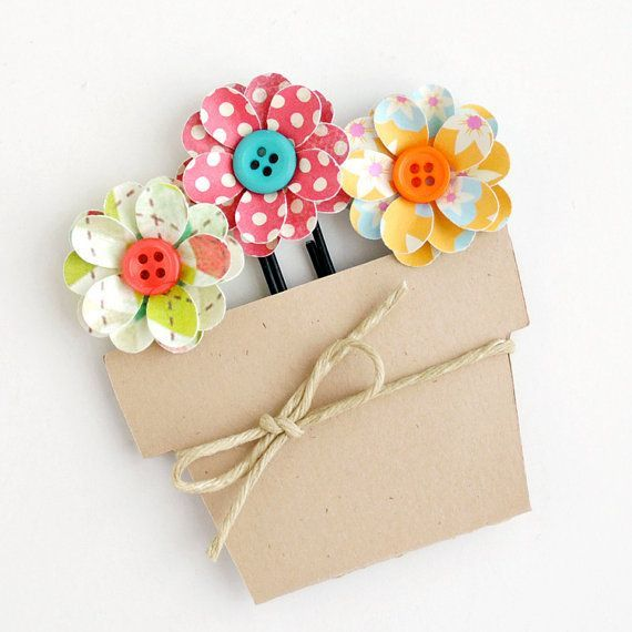 3 Handmade POTTED FLOWER CLIPS - Bookmarks, Office Clips, or Scrapbook Embellishment.....BROOCH!