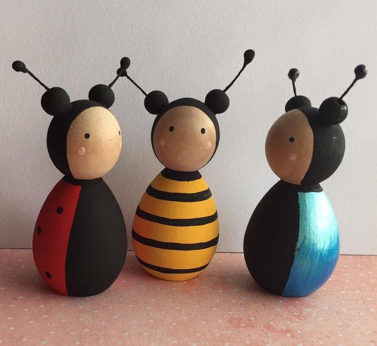 Garden bug bumblebee ladybird beetle peg doll