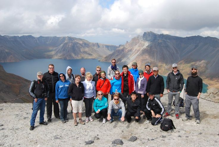 """""""Biking through remote coastal areas and beautiful landscapes at Mt. Paekdu has stuck in my mind as one of the most amazing travel experiences I've had."""" Cycling Tour group picture at Mt. Paekdu, read the travel story: http://koryogroup.com/blog/?p=1880"""