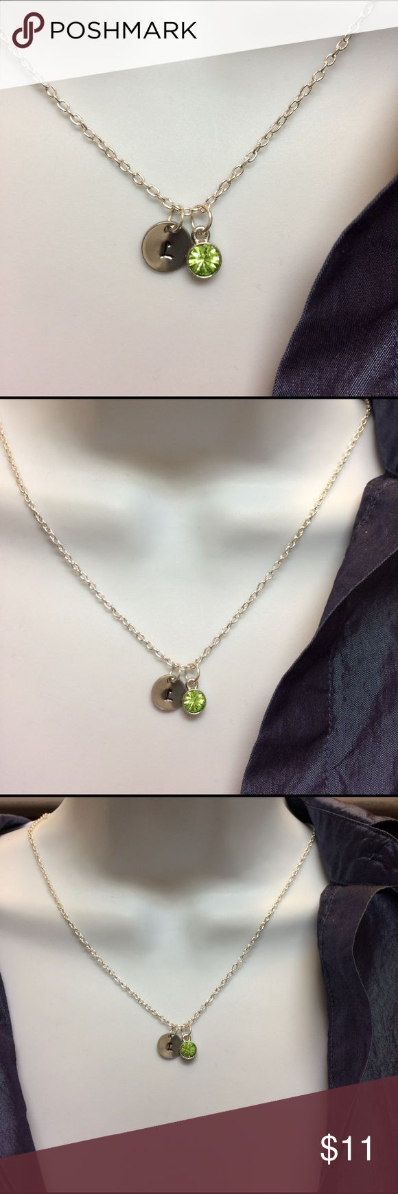 """August birthstone choose. Your initial necklace. Personalized August green birthstone with initial of your choice necklace, will hand stamp for your per order.  Necklace: 19"""", birthstone: 10mm----------------#b4371 Jewelry Necklaces"""