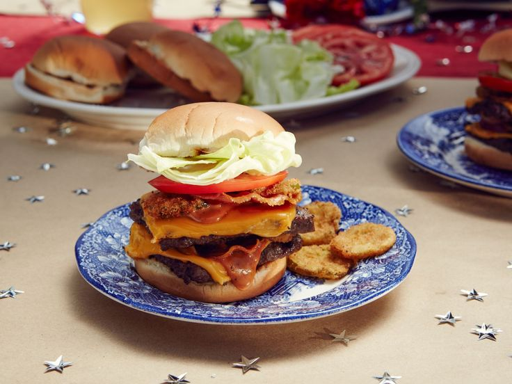 Double Cheeseburgers with Crisp Pancetta and Special Sauce recipe from Patricia Heaton Parties via Food Network