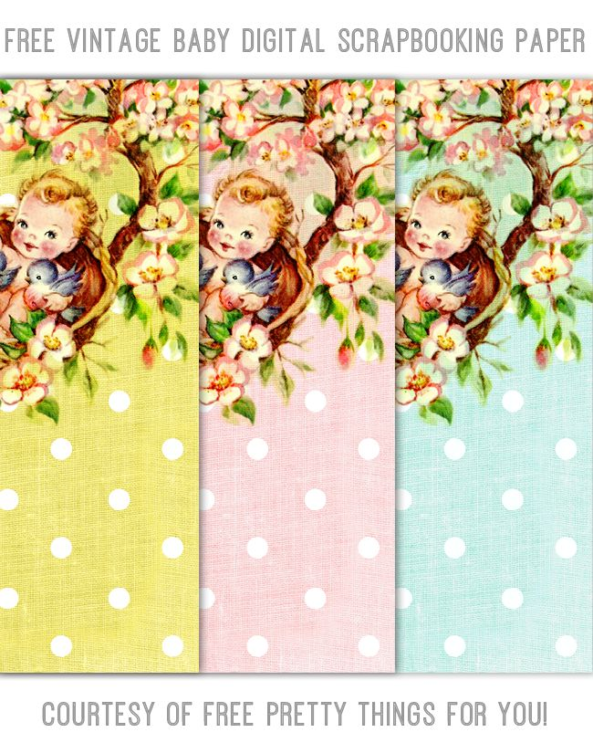 Free Vintage Baby Digital Scrapbooking Paper Set by @Free Pretty Things For You