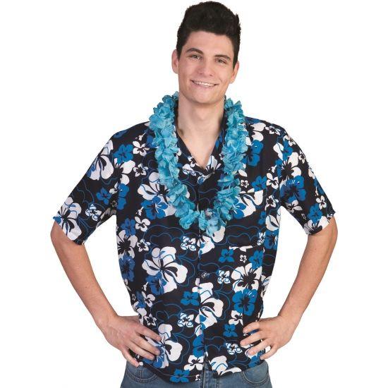 Blauwe Hawaii blouse Honolulu voor heren. Blauwe blouse met Hawaii bloemen voor heren. De blouse in in verschillende maten verkrijgbaar. Materiaal: 100% polyester.
