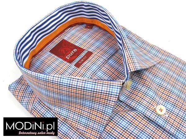 http://www.modini.pl/koszula-pure-slim-niebiesko-pomaranczowa-kratka-139