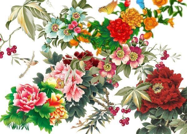 variety of peony flowers psd layered 3