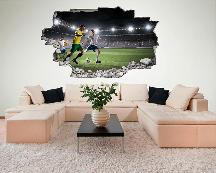 Awesome Soccer Room Fussball Stadion Spielfeld D Look Wandtattoo x cm Wanddurchbruch Wandbild