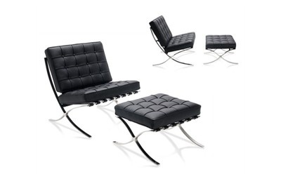 SILLA BARCELONA. Sillón de piel y estructura de acero inoxidable. Diseño Mies Van der Rohe