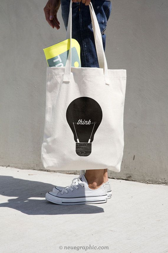 Think Graphic Tote Bag van NeueGraphic op Etsy