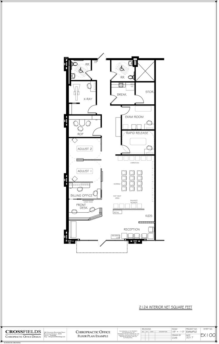 Example Layout Of A Chiropractic Clinic With Semi Open Adjusting Pettibon Traction ROF Exam Closed