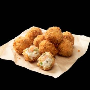 Joe's Crab Shack- Great Balls of Fire  2 tablespoons butter  2 ounces cream cheese  1/4 cup sour cream  1 tablespoon mayonnaise  1 teaspoon season salt  1/8 teaspoon paprika  1/8 teaspoon chili powder  1/4 cup cheese , shredded pepperjack  4 teaspoons onions , minced  4 teaspoons green peppers , minced  3 jalapenos , minced and seeded  6 ounces crab , canned  4 ounces shrimp , minced salad shrimp  2 eggs1 tablespoon milk  1 cup breadcrumbs  1 cup oil...