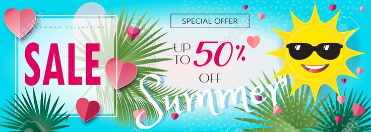 Summer sale. Tropical background banner with sun icon, palm tree leaves frame, sky, hearts. Vector illustration gift card, voucher, poster template. Stock Vector - 80927124
