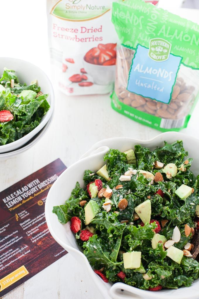 A delicious recipe for kale salad with lemon yogurt dressing inspired by my latest trip to ALDI. PLUS, a giveaway for $100 ALDI Gift Card!