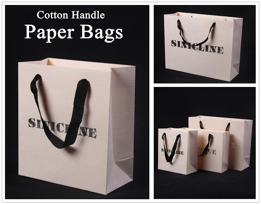 Paper bag knowledge: Cotton handles are usually used with large laminate bags. Since cotton fibres are bound together like rope, creating a handle type which provides the same soft, up-scale feel and appearance of ribbon, but with far greater strength. Besides, cotton handles are typically quite thick, meaning they won't be as likely to dig into people's hands when used to carry heavier loads. #paperbag #packaging