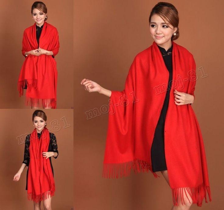 Fashion Women's Red Long Soft Warm 100% Cashmere Pashmina Shawl Scarf Wrap