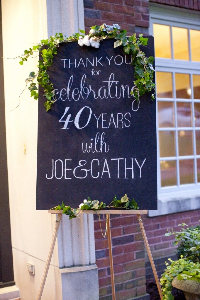 40th Anniversary Chalkboard | Magnolia Thymes | Victoria Austin Designs