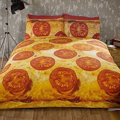 Pizza Double Bed Quilt Duvet Cover and 2 Pillowcase Bedding Bed Set Novelty Funky Food by Rapport - Comes inside pizza box style packaging, great for gifts;Double duvet cover (200 x 200 cm) and two pillowcases (50 x 75 cm);Materials: 48 percent cotton 52 percent polyester;Machine washable, can be tumble dried #DoubleBedSheets