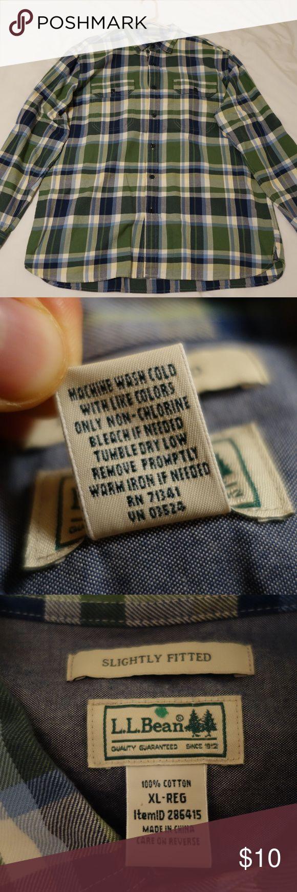 Men's flannel shirt L.L. Bean Green/Blue Flannel Shirt Size Extra Large (XL), Regular Length 100% Cotton L.L. Bean Shirts Casual Button Down Shirts
