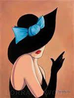 Sombreros-Lorena Dell Wood lamour Sombrero Negro Con La Cinta Azul