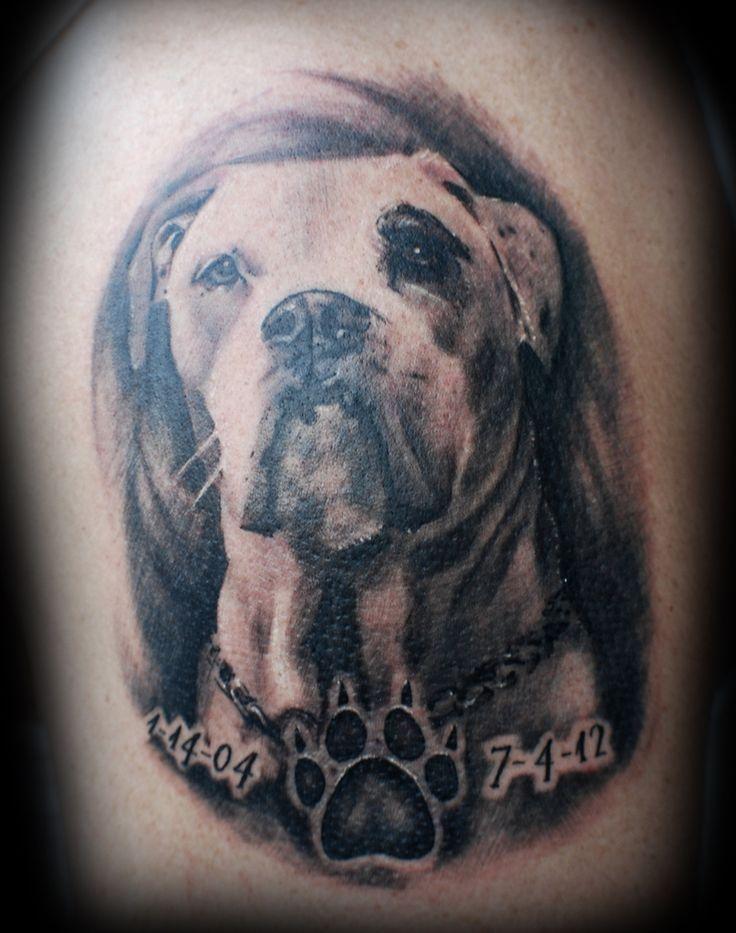 Memorial White Dog Tattoo Design