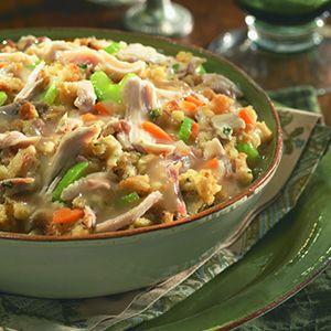 Leftover Turkey Casserole  The Ingredients:  2cups prepared mashed potatoes,   2cups cooked, shredded turkey,   112-ounce jar Heinz HomeStyle   Roasted Turkey Gravy,   1box prepared stuffing,   2cups cooked mixed vegetables (left over from supper is good too),  Salt and pepper to taste