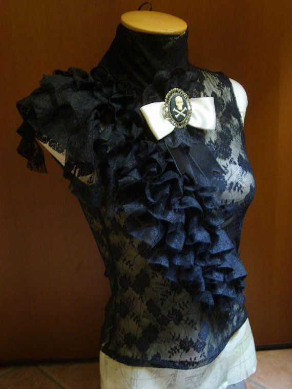 Black baroque style top by blackmirrordesign on Etsy, $75.00