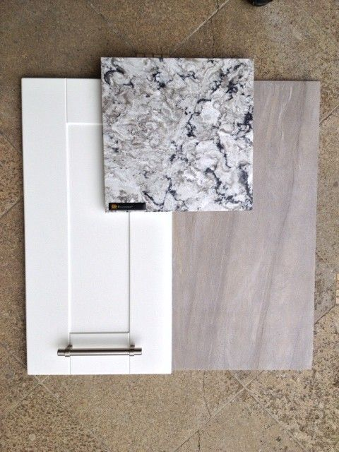 These are the main materials we used: IKEA Adel cabinetry in off white, Cambria countertops in Bellingham and a sandy gray tile